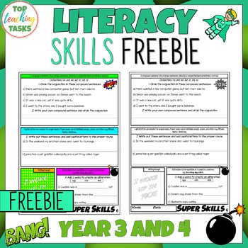FREE Literacy Skills Activities Punctuation, Vocabulary, Grammar NZ Year 3 and 4