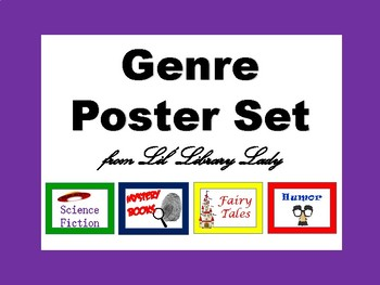 FREE Literary Genre Classroom Library Poster Set FREE