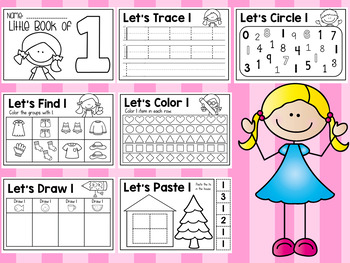FREE Little Book of Number 1 - Half Page Booklet Pre-K Kindergarten