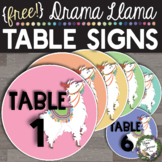 FREE Llama Table Number Signs