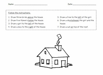 FREE! Locations Worksheet (on, above, below, left, right)