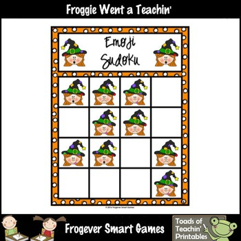 "FREE Logic-- Emoji Sudoku Puzzle Gameboards/Halloween Emoji Theme ""Boo"""