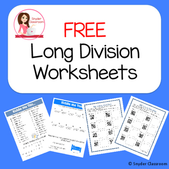 Free Long Division Worksheets By Snyder Classroom Tpt