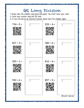 Free Long Division Worksheets By Snyder Classroom  Tpt Free Long Division Worksheets
