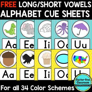 FREE Long/Short Vowel Alphabet Posters Classroom Color Schemes & Decor