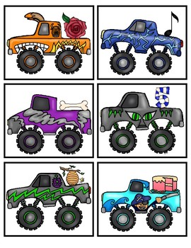 FREE Long Vowel (CVCE) Monster Truck Matching Literacy Center