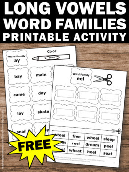 FREE Long Vowels Worksheet, Word Families Worksheets, 1st Grade Phonics