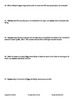 FREE Lord of the Flies by William Golding Chapter 5 Guided Reading Worksheet
