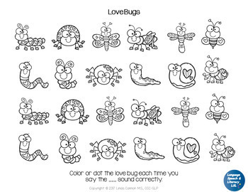 FREE Love Bugs Dot Coloring Sheets For Concepts Articulation