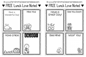 Lunch Box Love Notes - Perfect for Back to School Freebie