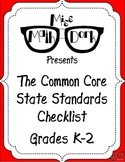 FREE: MATH Common Core State Standards K-2 Checklist