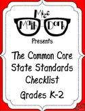 FREE: MATH Common Core State Standards K-2 Checklist