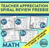 FREE MATH SPIRAL REVIEW WORKSHEETS for GRADES 1 THROUGH 5