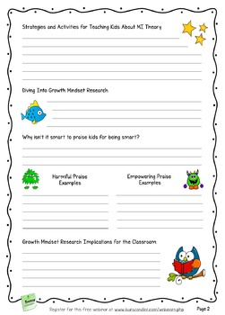 FREE MI Theory and Growth Mindset Webinar Handouts