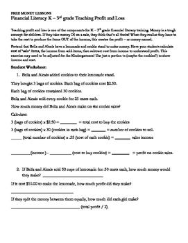 FREE MONEY LESSONS Financial Literacy K – 3rd grade Teachi