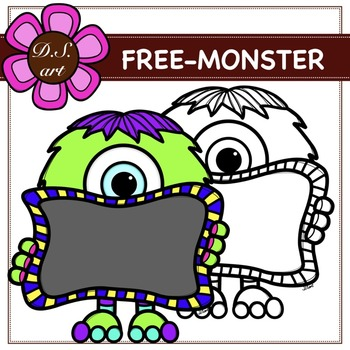FREE MONSTER Digital Clipart (color and black&white)
