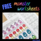 FREE MONSTER PRESCHOOL WORKSHEETS