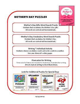 FREE ... MOTHER'S DAY WORD SEARCH PUZZLES, FREEBIE Worksheets ... Gr 3-4-5