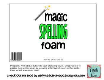 FREE- Magic Spelling Foam Label