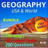 FREE - Map Skills   North America  (Gr. 3-7)