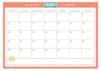 FREE March 2017 Monthly Planner