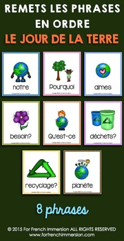 Jour de la Terre - FRENCH Earth Day Sentence Builders