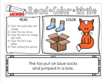 Read Color Reading Comprehension