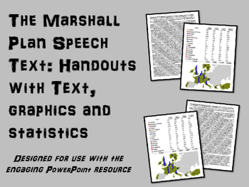 FREE Marshall Plan Handout, with speech text,graphics and statistics