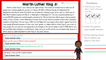 FREE Martin Luther King Jr Close Reading