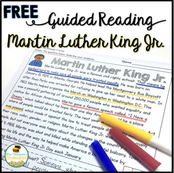 FREE Martin Luther King Jr Guided Reading Passage