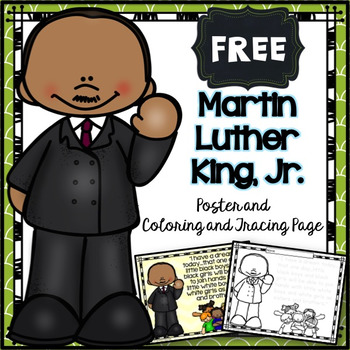 FREE Martin Luther King Jr Poster And Coloring Tracing Page
