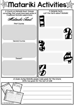 FREE Matariki Māori New Year Activity Sheets