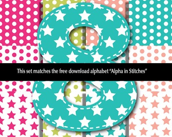 FREE! Matching Patterns for Alphabet in Summer Colors with Stitches and Patterns