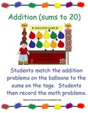 """FREE """"Math Activity with Sums to 20"""" -For Individuals or Centers"""
