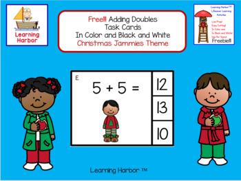 FREE!!! Math Adding Doubles Christmas Jammies Theme