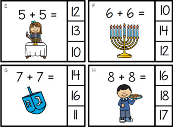 FREE!!! Math Adding Doubles Hanukkah Theme