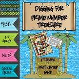 FREE Math Center Game: Digging for Prime Number Treasure (4th Grade)