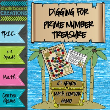 FREE Math Center Game: Digging for Prime Number Treasure (4th Grade)