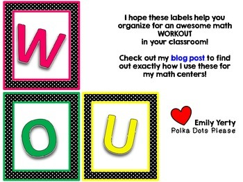 FREE Math Center Posters and Labels for a WORKOUT