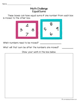 FREE Math Challenges & Brainteasers-Fast Finishers, Homework, & Extensions