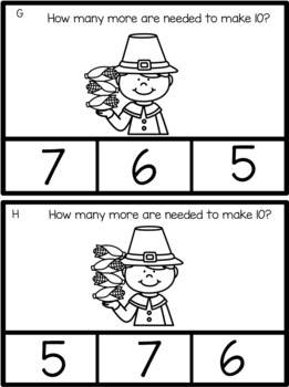 FREE Math Counting How Many More To Make Ten? Pilgrim Black and White Version