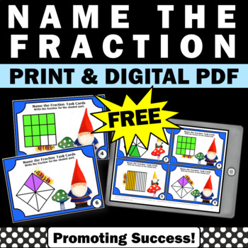 FREE Fractions with Visuals Task Cards, 3rd Grade Math Review, Gnomes Theme