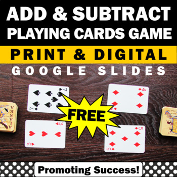 FREE Download Addition and Subtraction Game Kindergarten 1st Grade Math Centers