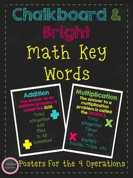 *FREE* Math Key Words Posters ~ Chalkboard & Bright