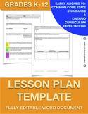 Editable Lesson Plan Template K-12