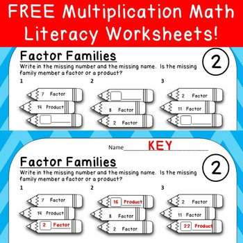 FREE Math Literacy Factor Families Worksheet- Multiples of 2!