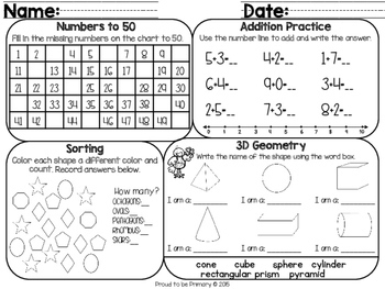 Math Practice and Review Mats