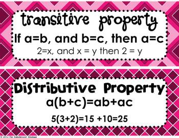 FREE Math Properties of Equality and Real Numbers Posters