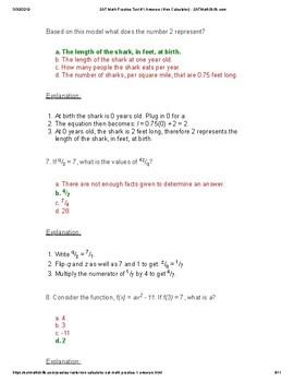 FREE Math SAT Non-Calculator Answer Key