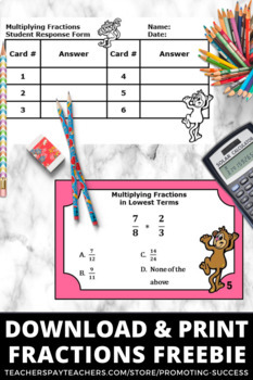FREE Multiplying Fractions Task Cards 5th Grade Math Centers Activities & Games